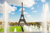 Eiffel Tower and fountains of Trocadero