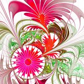 Flower Background. Vinous And Green Palette. Fractal Design. Computer Generated Graphics.