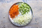 finely chopped carrot, cabbage and green capsicum vegetable