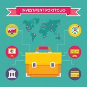 Investment Portfolio - Business Concept Illustration in Flat Design Style for presentation, booklet,