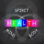 Health Of Spirit Mind And Body Displays Mindfulness