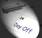Day Off Calendar Displays Work Leave And Holiday