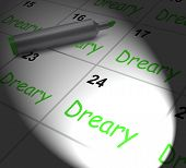 Dreary Calendar Displays Monotonous Dull And Uneventful