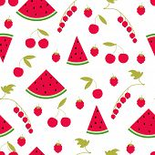 Seamless Pattern Watermelon Cherry Raspberry Currant