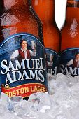 Closeup Of Samuel Adams Boston Lager Beer Bottles
