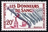 Postage Stamp France 1959 Blood Donors
