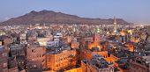 Old Sanaa view at dusk, Yemen