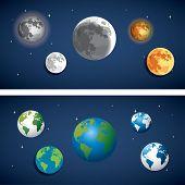 set of Globe and moon icon. illustration eps10