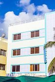 Facade Of Art Deco Buildings At Ocean Drive In Miami
