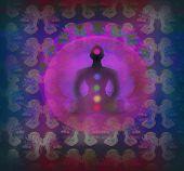 image of padmasana  - Yoga lotus man silhouette in pose - JPG