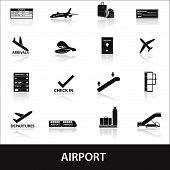 airport icons set eps10