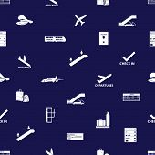 airport icons blue and white seamless pattern eps10