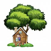 Illustration of a boy playing outside the house under the tree on a white background
