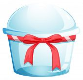 Illustration of an empty disposable container with a red ribbon on a white background