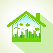 Ecology concept with home stock vector