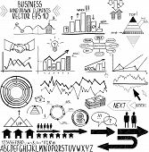set of hand drawn business finance elements vector illustration. Concept - bank, stats, economy, mon
