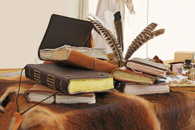 image of annal  - Old book and inkstand on the fur leather - JPG