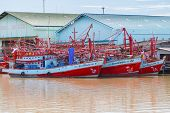 Unidentified fishing boats in Rayong River, Thailand.