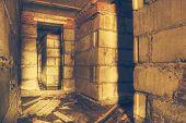 abandoned corridor, urban background, retro filtered, instagram style