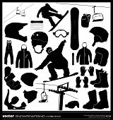 stock photo of ski boots  - Snowboarding elements vector set - JPG
