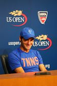 Grand Slam champion Roger Federer during press conference after he lost semifinal match US Open 2014