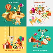 stock photo of circus clown  - Circus entertainment flat icons set with exotic animals funny clowns exciting performance isolated vector illustration - JPG