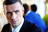 Closeup portrait of a serious businessman