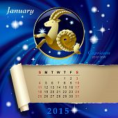 Simple monthly page of 2015 Calendar with gold zodiacal sign against the blue star space background. Design of January month page with Capricorn figure