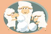 Vector Illustration. Card With  Lamb Family.
