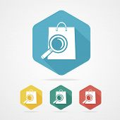 Isolated shopping bag icon with a magnifier.