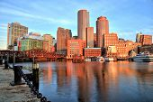foto of sunrise  - Boston Skyline With Financial District And Boston Harbor At Sunrise - JPG