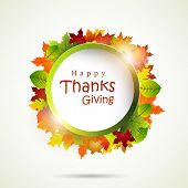 Stylish rounded frame decorated with autumn leaves and text for Thanksgiving Day celebration concept.