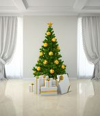 Christmas tree with gold decor in classic style room 3D rendering