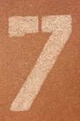 image of number 7  - Close up number seven on running track - JPG