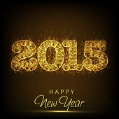 Happy New Year celebration with shiny golden text 2015 on brown background, can be use as poster, banner or card.