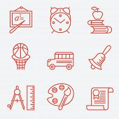Education icons, thin line style, flat design