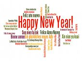 Happy New Year in different languages. Words cloud