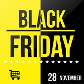 image of friday  - a black and yellow background with text stars and a shopping cart for black friday - JPG