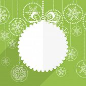 stock photo of christmas greetings  - Green Christmas greeting card with white christmas bauble and snowflake background - JPG