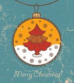 Retro greeting card with glass ball and Christmas tree