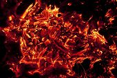 red-hot coals