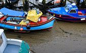 Stranded boats at low tide Scarborough