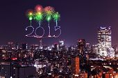 2015 New Year Fireworks Celebrating Over Tokyo Cityscape