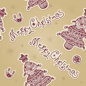 Vintage christmas vector seamless pattern with Xmas tree. Merry Christmas seamless background with s