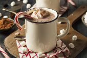 stock photo of whipping  - Homemade Peppermint Hot Chocolate with Whipped Cream - JPG