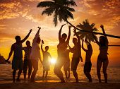 picture of break-dance  - Diverse People Dancing and Partying on a Tropical Beach - JPG