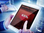 Hands Holding Digital Tablet Car Security Center