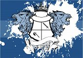 heraldic lion head crest background2