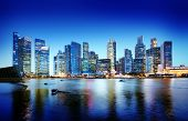 foto of singapore night  - Cityscape Singapore Panoramic Night Concept - JPG