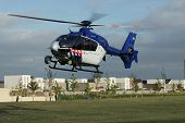 Dutch police helicopter in flight - landing